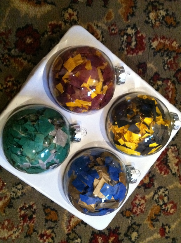 These were really easy. I just tore up pieces of tissue paper and sorted them into Hogwarts House Colors.